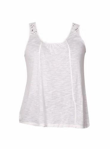 3195300dc2160b Cotton White Sleeveless Ladies Lace Top, Size: S, M & L, Rs 180 ...