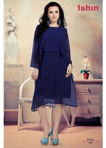 28c8ae17f1f663 Ishin Women Blue Georgette Solid Western Dress at Rs 1199 /piece ...