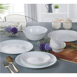 White Opalware Dinner Set, Packaging: Box