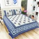 Cotton Hand Printed Rajasthani King Size Bedsheet with 2 Pillow Covers