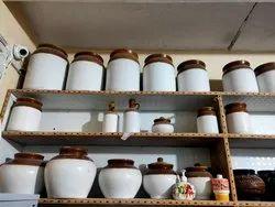 White and Brown Ceramic Pickle Jars