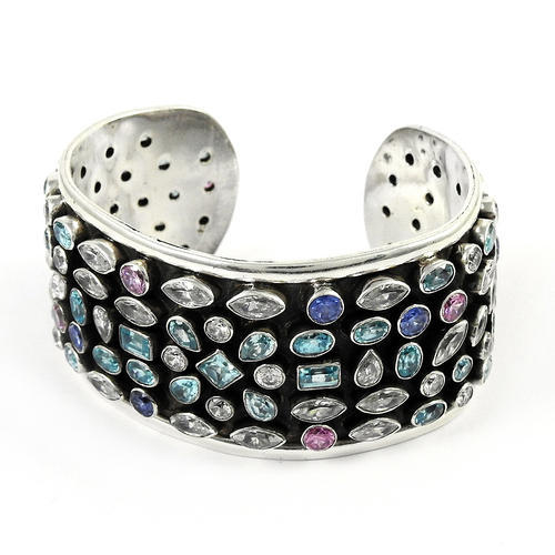 925 Sterling Silver Best Mix Gemstones Cuff Bangle