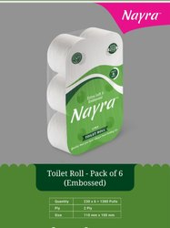 White Nyra Toilet Roll Embossed -Pack of 6