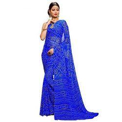 Blue Bandhani Saree