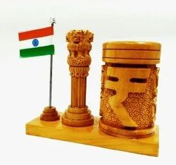 Carving Wooden Pen Holder With Flag and Ashoka Pillar