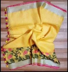 Festive Wear Jaquared Handloom Pure Linen Jacquard Saree, Hand, 6.3 m (with blouse piece)
