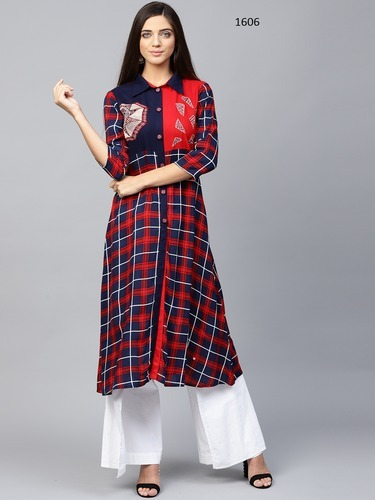 4734354bc23 Women Navy Blue & Red Checked ALine Kurta - Yufta LLP, Jaipur | ID ...