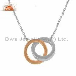 Two Tone Plated Connected Circle Design Silver Chain Pendant