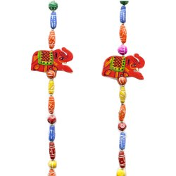 Latkan With Red Color Elephant & Multi-Color Stone