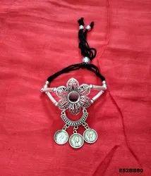 Oxidised Floral Design Silver Baajubandh - Women's Armlets