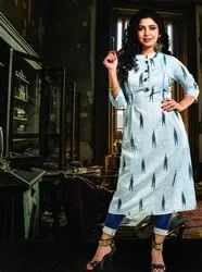 Ladies 3/4th Sleeve Casual Wear Printed Designer Kurtis