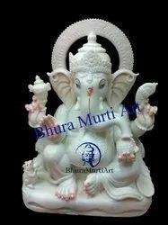 Decorative White Marble Ganesh Statue