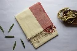 Casual Wear Border Handwoven Cotton Saree, With blouse piece, 6.5 M (with running blouse)