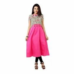 Ladies Cotton Party Wear Pink Half Sleeve One Piece Dress, Size: S
