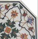 White Makrana Marble Stone Inlaid Coffee Table Top