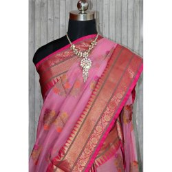 Party Wear Printed Banarasi Cotton Saree, 5.5 m (separate blouse piece), Packaging Type: Packet