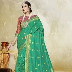 Green Zari Weaving Saree