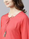 CORAL SOLID STRAIGHT KURTA WITH EMBROIDERY SLEEVE