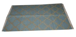 Cotton Hand Woven Red And Blue Dhurrie Rug- Traditional Design