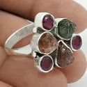 Big Natural Amethyst Gemstone Silver Ring