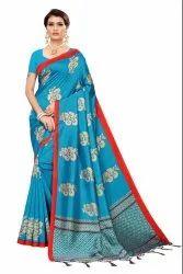 Banarasi Art Silk Party Wear Blue Saree Blouse Piece
