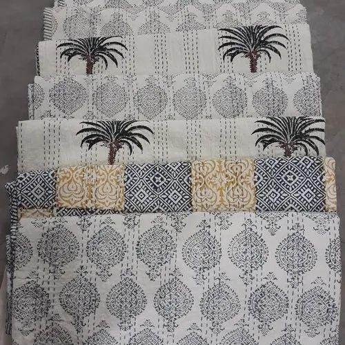 Details about  /Vintag Indian Hand Blcok Reversible  Rajai Throw Cotton Kantha Quilt Blanket Art
