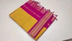 Formal Wear Plain Kalyani Cotton Saree, 6 m (with blouse piece)