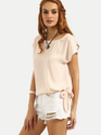 Round Neck Half Sleeves Apricot Tie Side Short Sleeve Top