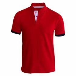Cotton Modern Collar T Shirt, Size: S-XXXL