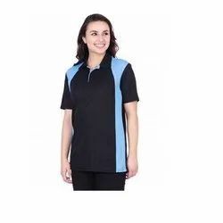 UB-D-Tee-11 Black & Sky Blue Designer Polo T-Shirt For Female
