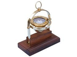 Wooden Base Antique Gimbal Compass