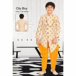 Yellow (Peshawari) Party Wear Kids Fancy Indo Western Dress