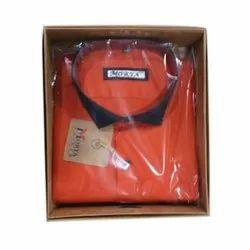 Orange Cotton Men's Casual Plain Shirt