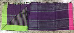 Linen Purple Traditional Saree