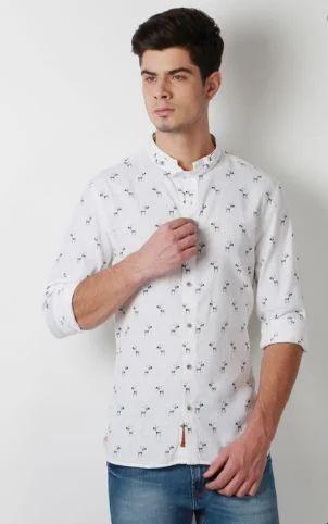 4acfa6998fa8 Peter England Printed White Shirt, सफेद कमीज - Peter England ...