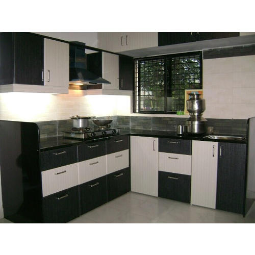 L Shaped Modular Kitchen Designs India: L Shape Wooden Modular Kitchen Black, Rs 80000 /piece, Bhavya Decor