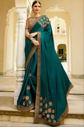 Morpich Designer Silk Saree with Double Blouse