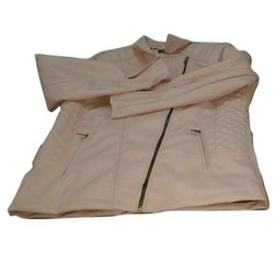 Full Sleeve Plain Ladies Cream Leather Jacket, Size: M-3XL