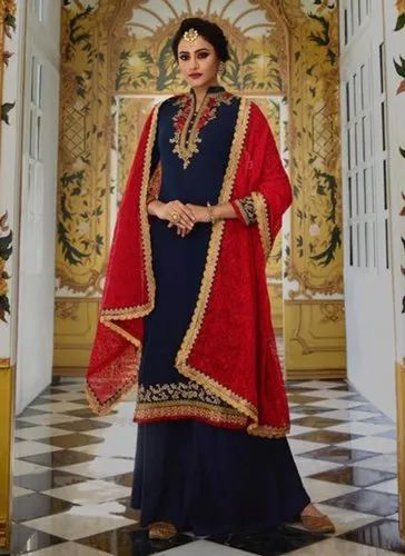 5651527080 Navy Blue Georgette Designer Palazzo Salwar Suits, Rs 2050 /piece ...
