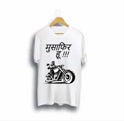 Round Neck Polyester Musafir Hu Half Sleeve Printed T-Shirt for Men's