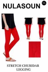 Cotton Lycra Plain Stretch Churidar Legging, Size: Free Size