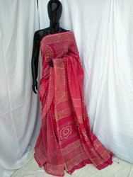 Printed Cotton Chanderi Silk Saree, 6.3 m (with blouse piece)