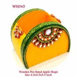 Wooden Pen Stand Apple Shape