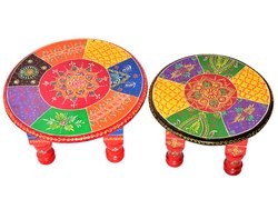 Wooden Handmade Bajot Set Of 2 Stool Set Of 2 Home Decorative Item Home Decor