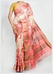 Kheya Collections Printed Zari Border Tussar Silk Saree
