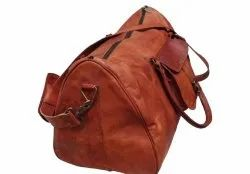 Indian Vintage Brown Leather Duffle Bag, For Travel