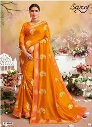 Yellow Color Vichitra Silk Banarasi Zari Border Saree