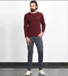 Besimple Men's Burgundy Full Sleeve T-Shirt