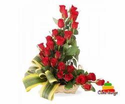 24 Red Roses Arrangement In Basket