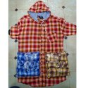 50%cotton, 50%polyester Long Sleeve Mens Check Hooded Shirt